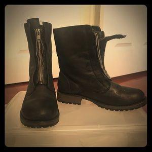 Black Distressed Combat Boots
